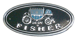 Old logo of Body of Fisher with a buggy above the text